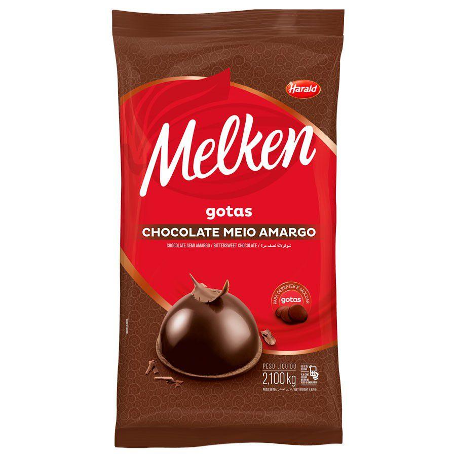 CHOCOLATE MELKEN GOTAS MEIO AMARGO 2.100KG HARALD