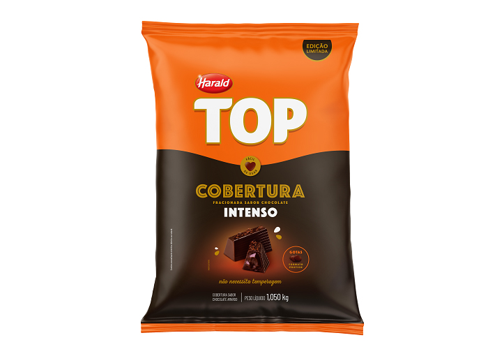 COBERTURA DE CHOCOLATE INTENSO TOP - GOTAS 1,050KG HARALD
