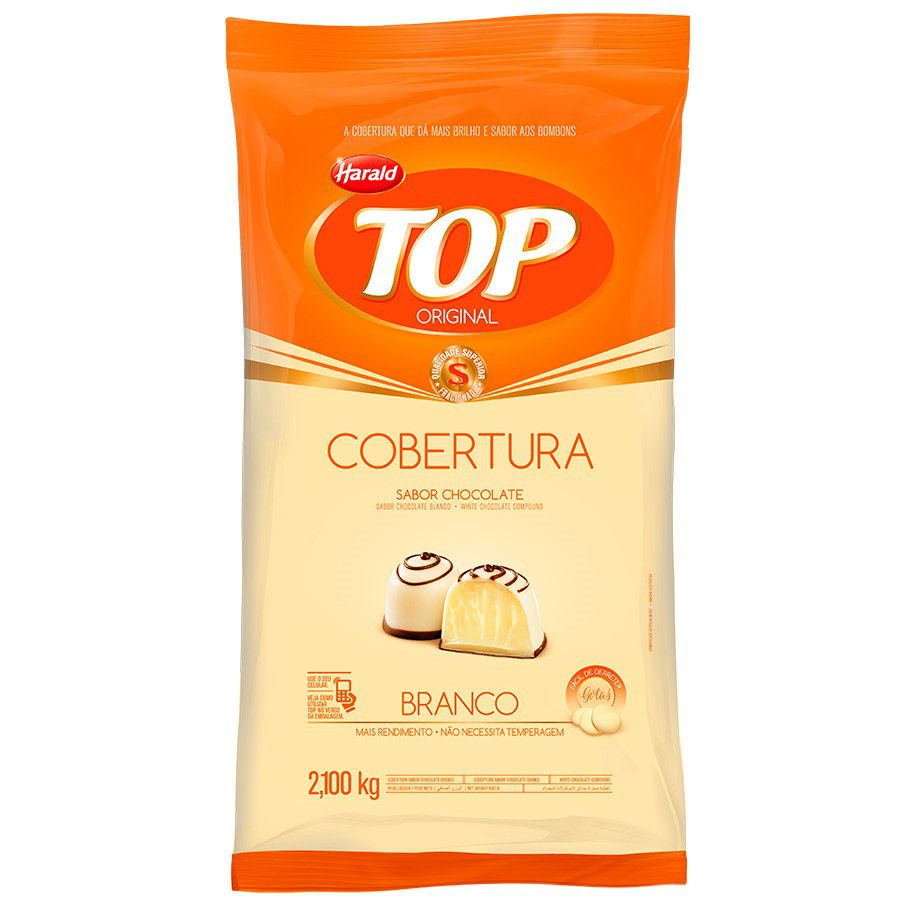 COBERTURA DE CHOCOLATE TOP GOTAS BRANCO 2,1KG HARALD