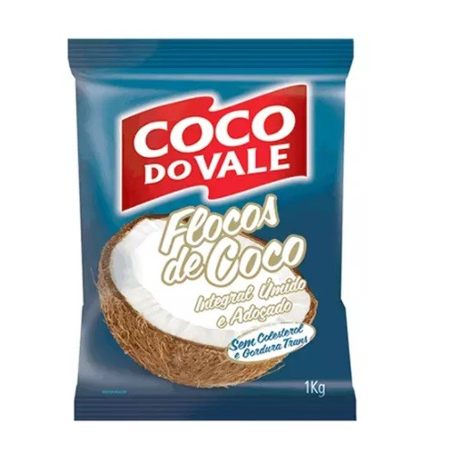 COCO RALADO FLOCOS INTEGRAL ÚMIDO E ADOÇADO 1KG COCO DO VALE