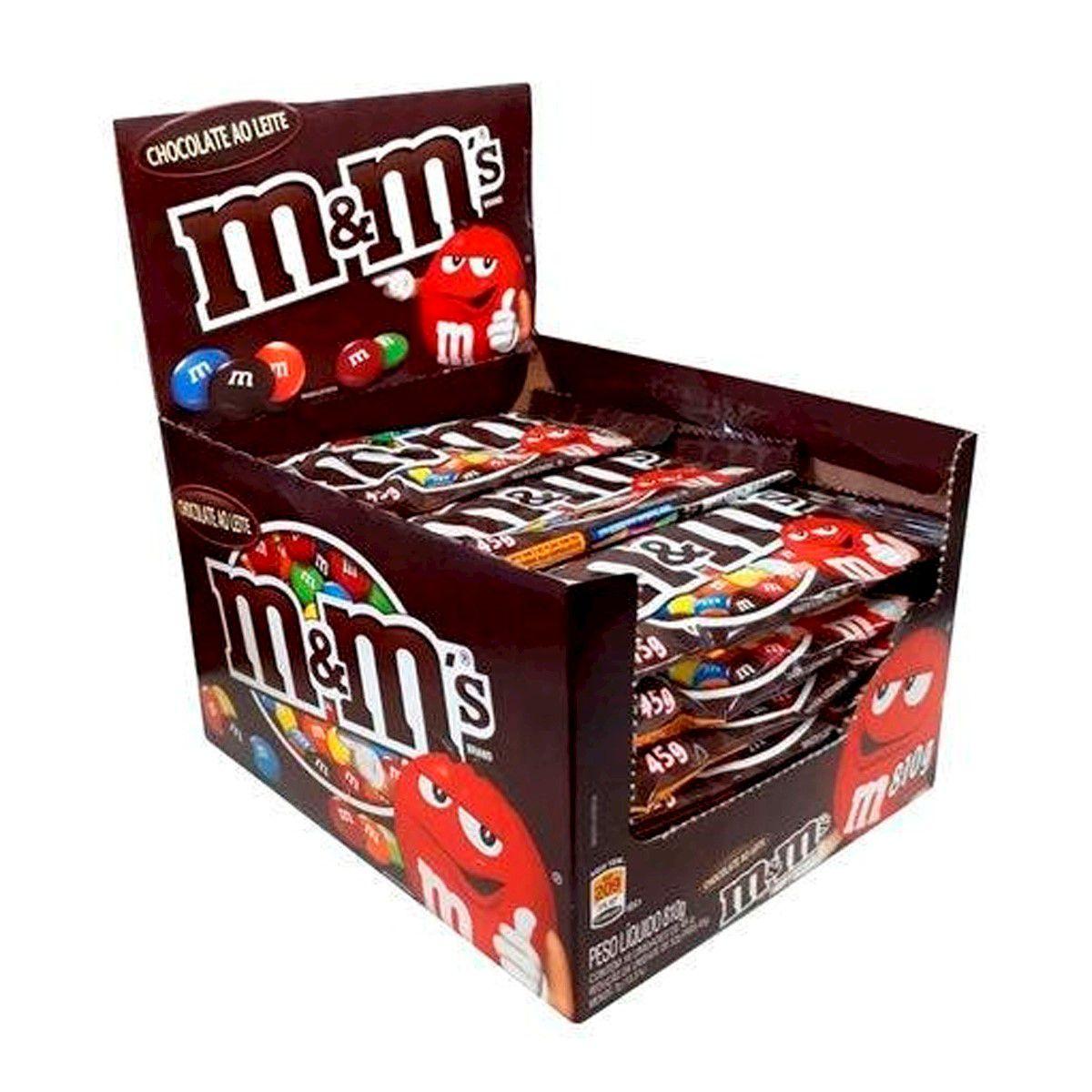 M&MS CHOCOLATE DISPLAY COM 18 UNIDADES DE 45G