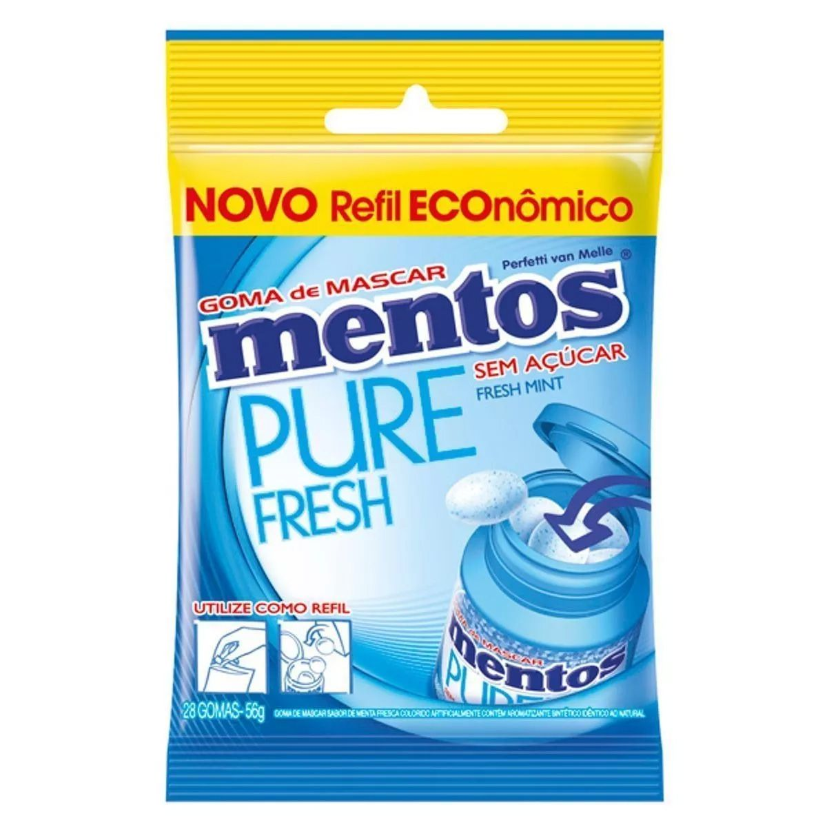 MENTOS PURE FRESH MINT REFIL 56G PERFETTI