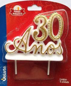 VELA 30 ANOS LUXO BRANCA E DOURADA VELARTE