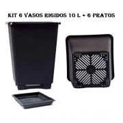 KIT 6 VASOS 10L QUADRADO ANTI-STRESS + 6 PRATOS