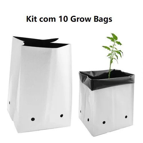 KIT 10 SACOS DE CULTIVO GROW BAG 19 LITROS