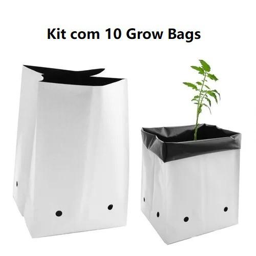 KIT 10 SACOS DE CULTIVO GROW BAG 7,57 LITROS