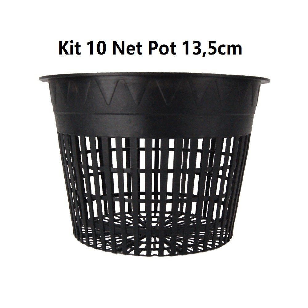 KIT 10 VASOS NET POT 13.5CM