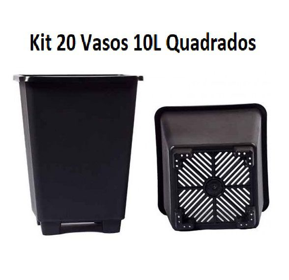 KIT 20 VASOS 10L QUADRADO ANTI-STRESS