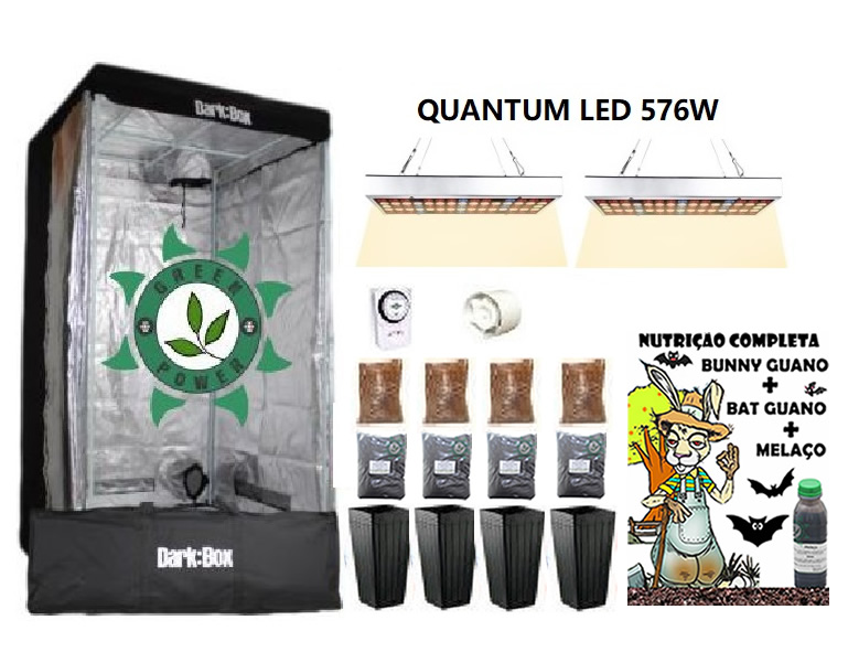 KIT ESTUFA DARK BOX 100 GROW LED 576W QUANTUM