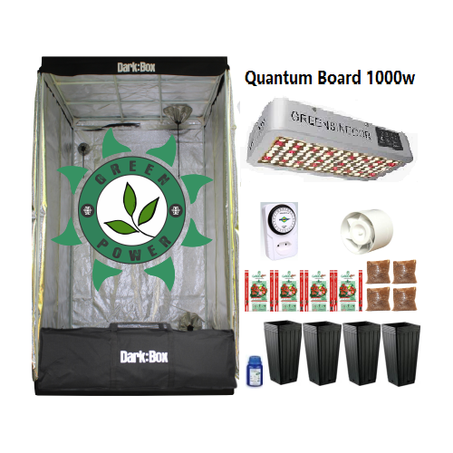 KIT CULTIVO INDOOR DARK BOX 100 GROW LED 1000W QUANTUM BOARD
