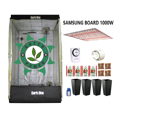 KIT CULTIVO INDOOR DARK BOX 100 QUANTUM SAMSUNG GROW LED 1000W