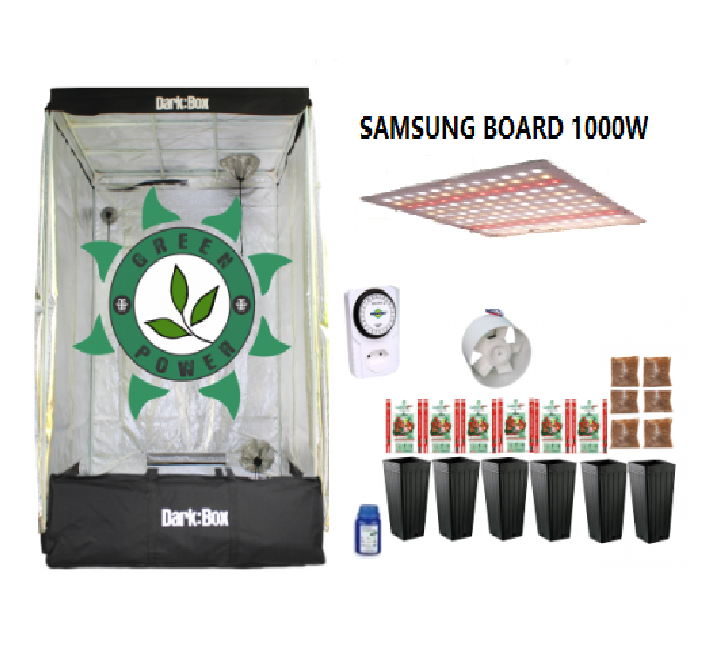 KIT CULTIVO INDOOR DARK BOX 120 GROW LED 1000W SAMSUNG QUANTUM BOARD