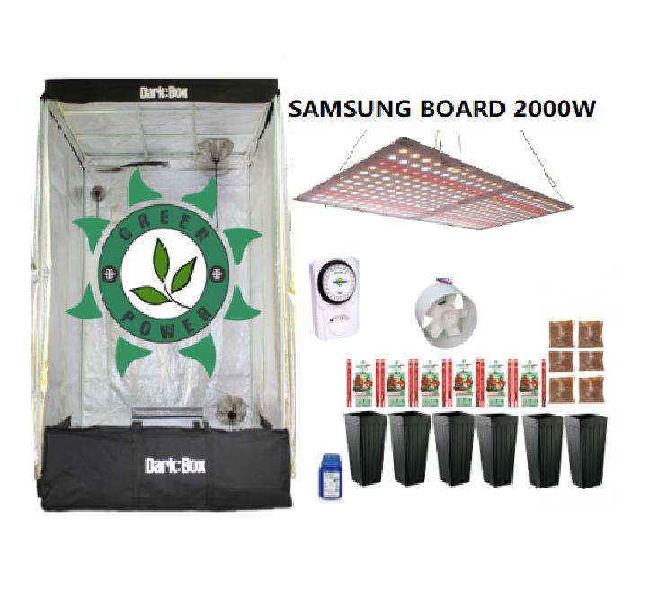 KIT CULTIVO INDOOR DARK BOX 120 GROW LED 2000W SAMSUNG QUANTUM BOARD