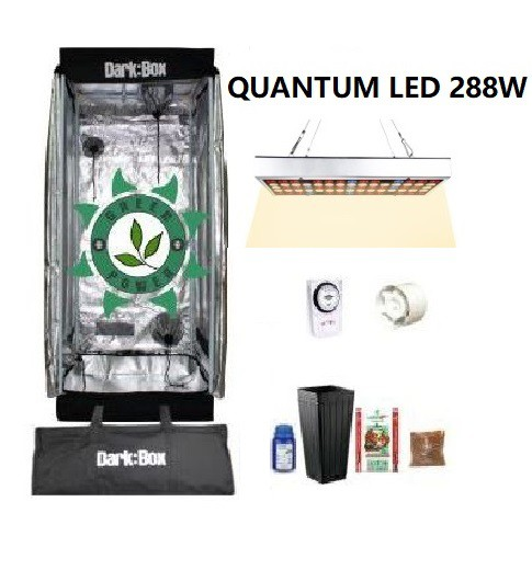KIT CULTIVO INDOOR DARK BOX 40 GROW LED 288W QUANTUM