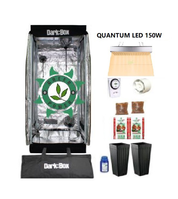 KIT CULTIVO INDOOR DARK BOX 60 GROW LED 150W QUANTUM