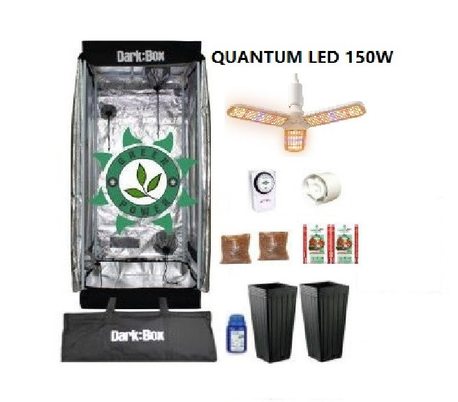 KIT CULTIVO INDOOR DARK BOX 60 GROW LED 150W DRONE  QUANTUM E-27