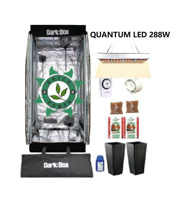 KIT CULTIVO INDOOR DARK BOX 60 GROW LED 288W QUANTUM