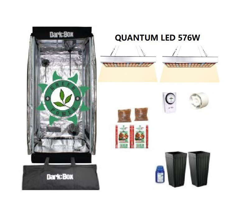 KIT CULTIVO INDOOR DARK BOX 60 GROW LED 576W QUANTUM