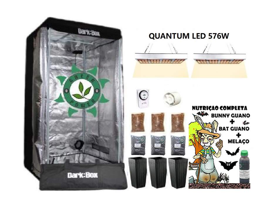 KIT ESTUFA DARK BOX 80 GROW LED 576W QUANTUM