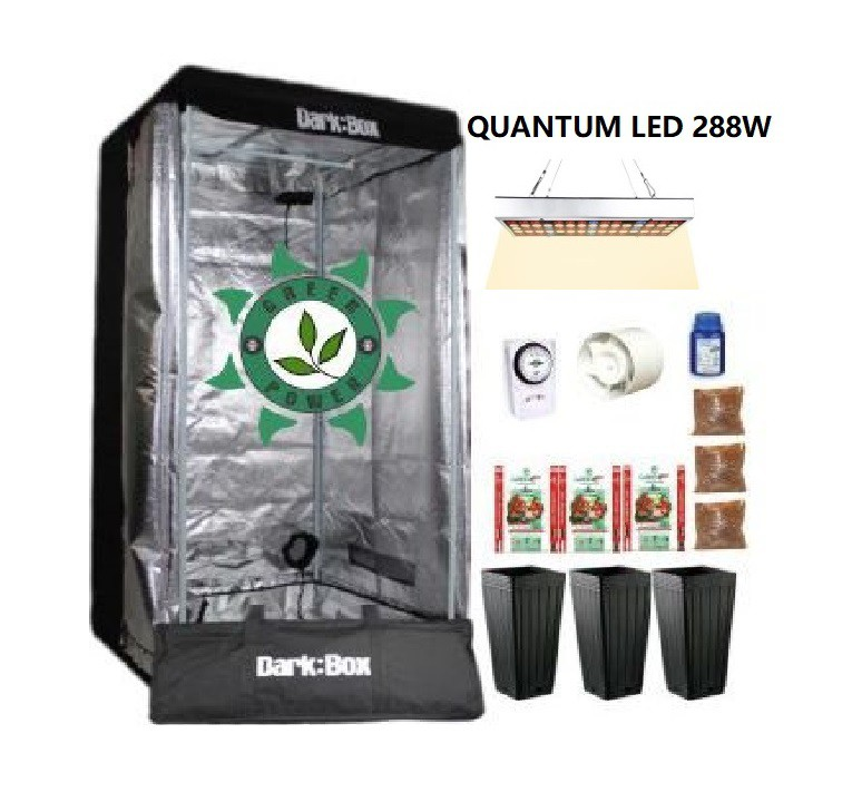 KIT CULTIVO INDOOR DARK BOX 80 GROW QUANTUM LED 288W