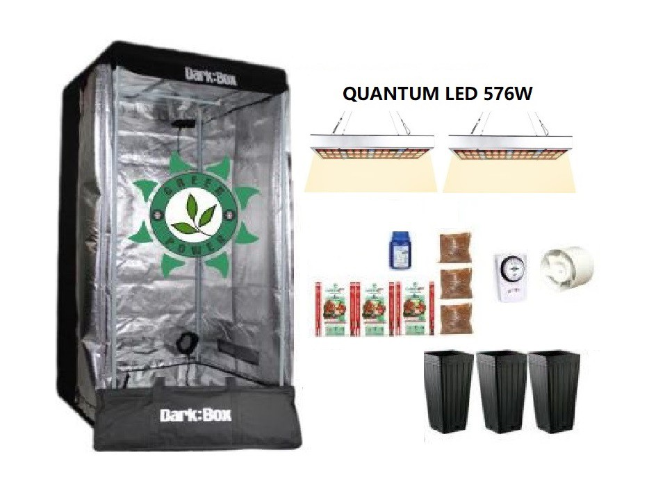 KIT CULTIVO INDOOR DARK BOX 80 GROW LED 576W QUANTUM