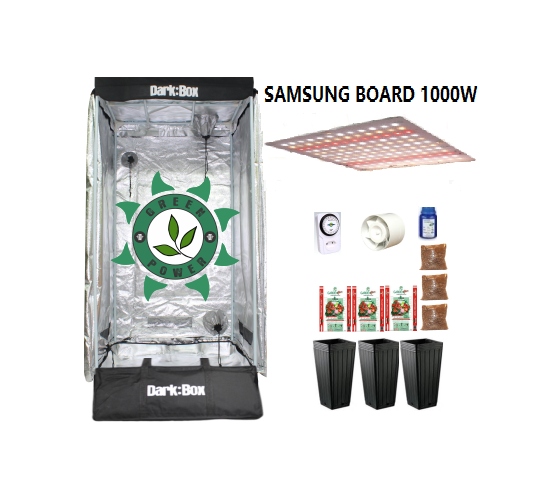 KIT CULTIVO INDOOR DARK BOX 80 QUANTUM SAMSUNG GROW LED 1000W