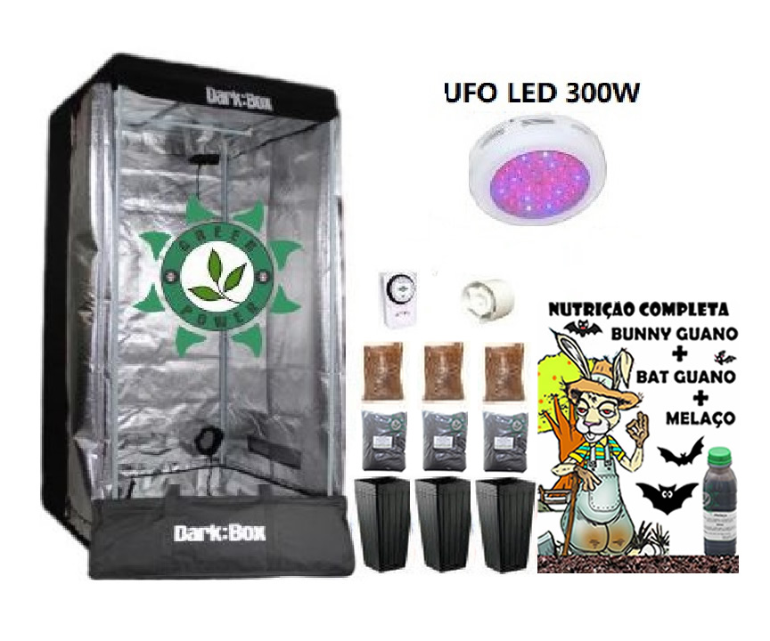 KIT ESTUFA DARK BOX 80 UFO GROW LED 300W