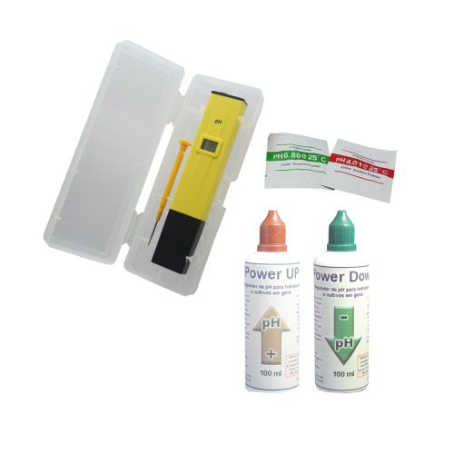 KIT MEDIDOR PH + SACHES CALIBRAÇÃO + REGULADORES 100ML