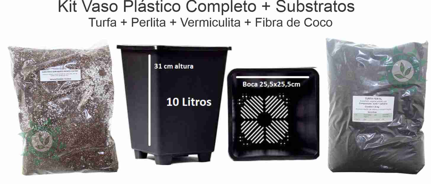 KIT VASO ANTI-STRESS 10L + SUBSTRATO POWER MIX E TURFA
