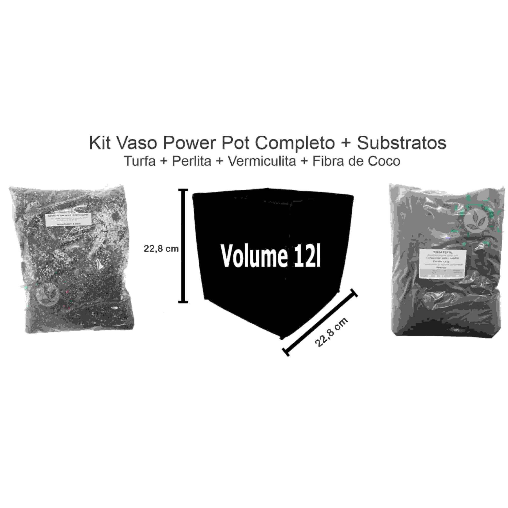 KIT VASO POWER POT 12L + SUBSTRATO POWER MIX E TURFA