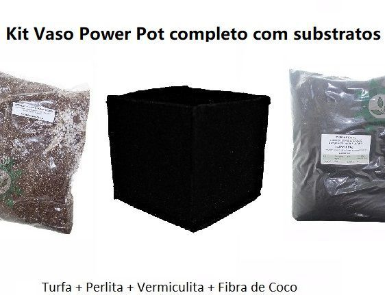 KIT VASO POWER POT 7L + SUBSTRATO POWER MIX E TURFA