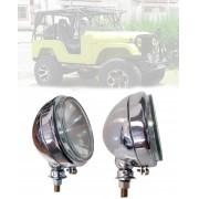 Farol Milha H3 de 136mm Cromado Jeep Willys CJ3/ CJ5 - O PAR