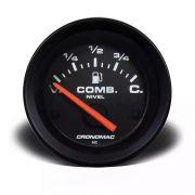 Indicador Nível Combustível  Preto 52mm Cronomac