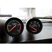 Kit Manometro Relógio Voltimetro Pressão Turbo 2kg Racing + Kit Instalação