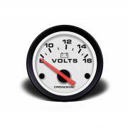 Voltímetro Bateria Street Branco 52mm Led - Cronomac