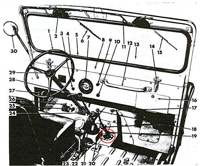 Anel Da Coifa Da Alavanca Da Reduzida Jeep Willys Cj2/3/5/6