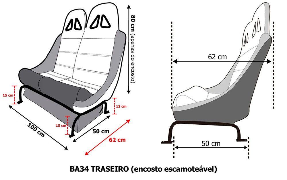 Banco Traseiro San Marino Race mod1 BA34 100cm P/  Toyota Bandeirante