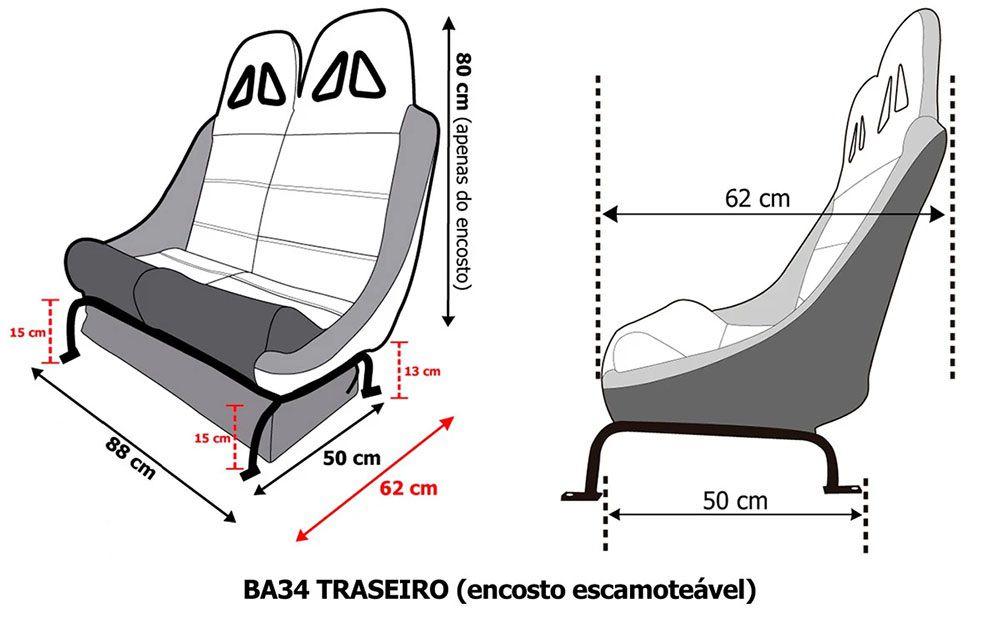 Banco Traseiro San Marino Race mod2  BA34 88cm P/  Jeep Willys