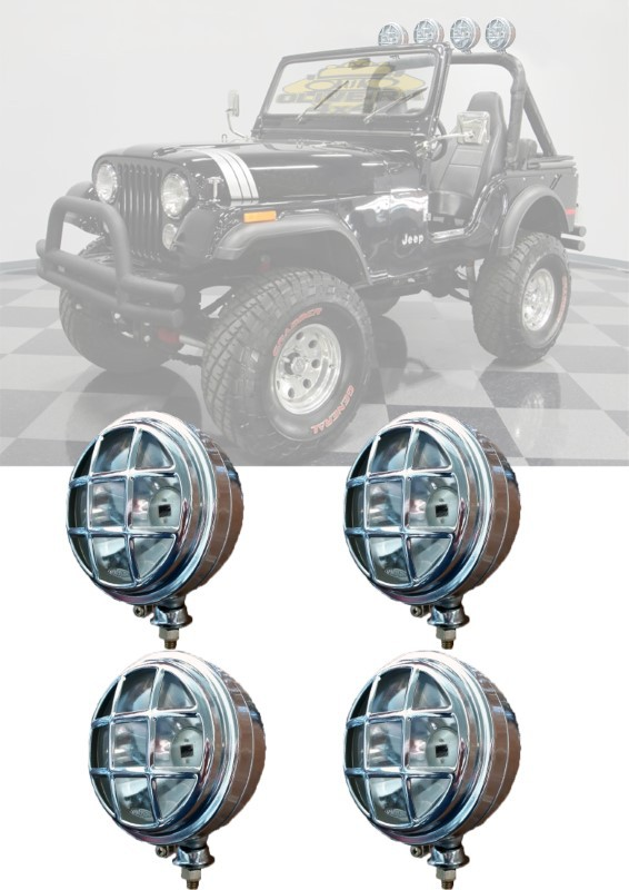 Farol Milha C/ Grade Jeep Willys, Tratores, Pickups - 158 mm