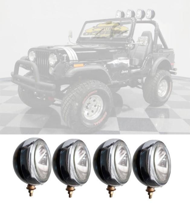 Farol Milha Jeep Willys 180mm Preto Aro Comado - H3