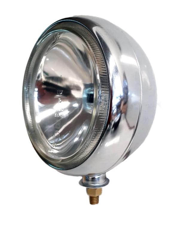 Farol Milha Super Oscar 180mm MOTO Cromado Lampada h4/ h5