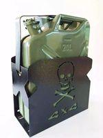 Galão e Suporte Caveira - Combustível Reserva 20 L. Aço. P/ Jeep