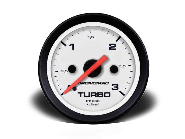Indicador Turbo 52mm Mecânico 3 kg - Street Branco