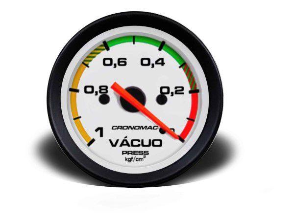 Indicador Vacuo 60mm Mecânico - Street Branco C Faixa