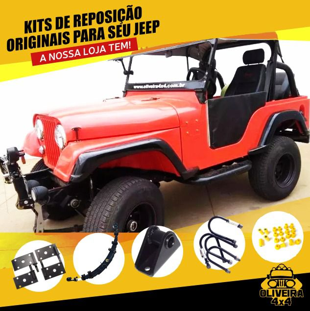 "Calço Carroceria Santoprene 1"" Jeep Willys - 12 Peças"