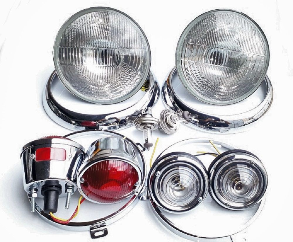 Kit Farol, Lanterna Aro Interno E Externo - Jeep Willys/ F-75/ Rural