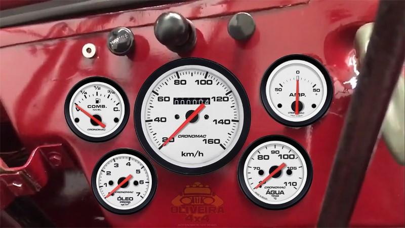 Kit Manômetro Relógio Jeep Willys Cj3 Antigo 1951/54 - 5 Itens Street Branco