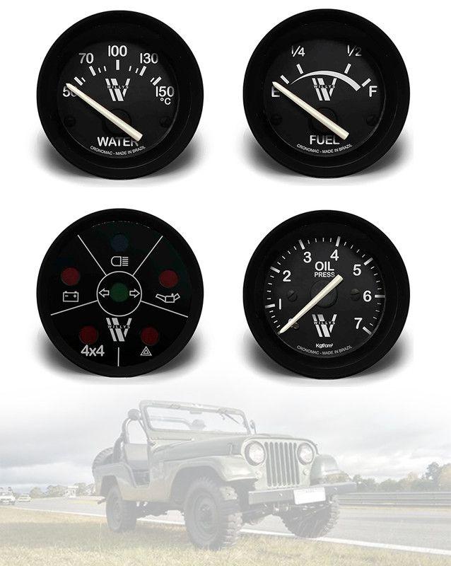 Kit Manômetro Relógio Sinaleira Jeep Willys Cj5 1955 em diante - 4 Itens