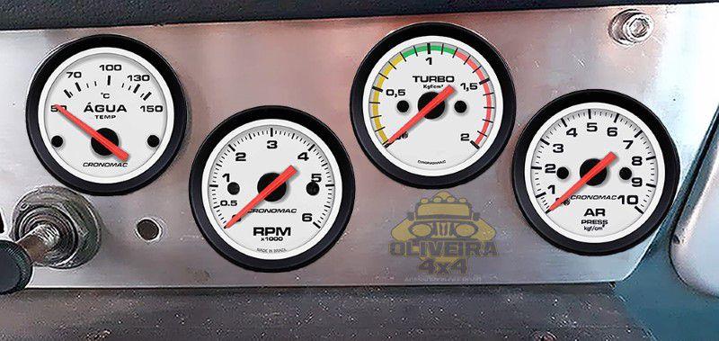Kit Manometro Relógio Turbo, Temperatura, RPM, Contagiro Street Branco - Bandeirante