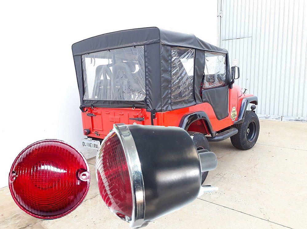 Lanterna Traseira Aro Cromado C/ Vigia - jeep Willys Reboque